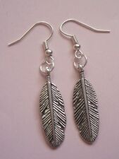 Silver Plated Bird Feather Charm Earrings Kitsch Brand New Festival