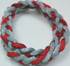 "13 - BASEBALL Titanium TORNADO Sport Necklace 20"" Gray Red Grey Braided 3 ROPE"