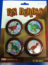 Dinosaur Party Holographic Prismatic Kids Birthday Party Favor Toy Pins Buttons