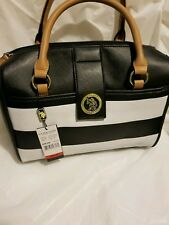 U.S. POLO ASSN. Nautical Black/white Tote Size Handbag Purse Bag Ships Free fast