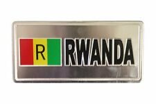 RWANDA COUNTRY FLAG-SILVER LICENSED STICKER FLAG PLATE..SIZE: 6 X 3 INCH