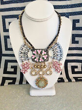 NWT Betsey Johnson Buckle Pearl Tribal Vintage Flower Lrg Statement Necklace