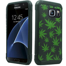 For Samsung Galaxy S7 EDGE - HARD HYBRID RUBBER ARMOR PROTECTOR CASE COVER WEED