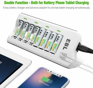 EBL Upgraded 808U AA AAA Battery Charger with 2 USB Ports and 8 xNi-MH batteries