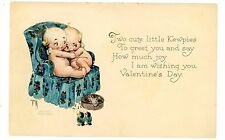 Rose O'Neil-KEWPIE BABY HUGGING-VALENTINES DAY-Postcard Artist Signed/Fantasy