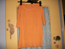 t shirt orange manches courtes, taille M, 63 cm de longueur, peu porté