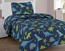 2pc Patchwork Dinosaurs Youth Twin Sized Quilt Quilted Bedspread Set Bedding