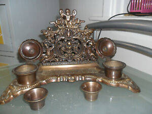 Vintage Rococo Style Solid Brass Cherub Ink Well And Letter Holder