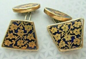 Antique Vermeil Sterling Silver Blue & Gold Enameled Cuff Links - Unusual