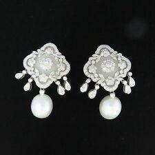 NYJEWEL 18k Solid Gold Breathtaking Art Deco Style 4ct Diamond Pearl Earring