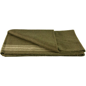 MILITARY STYLE WOOL BLANKET CAMPING SURVIVAL OD GREEN KHAKI STRIPES 62X80 NEW