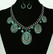 Western Antique-Silver-tone/Patina Multi-Horseshoe & Faux Turquoise Necklace Set