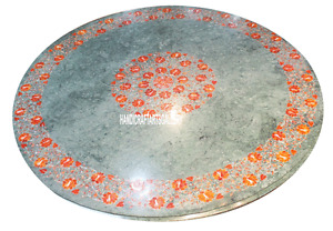 """24"""" Green Marble Coffee Table Top Carnelian Floral Inlay Marquetry Decors H3039"""