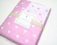 Pottery Barn Kids Organic Cotton Pink White Heart Full Queen Duvet Cover New