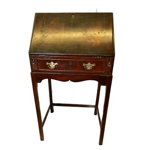 Antique Mahogany Small Bureau With One Drawer