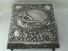 LARGE ANTIQUE ART NOUVEAU SOLID SILVER JEWELRY CASKET/BOX