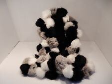 Rabbit Fur Scarf, Black, Gray & White