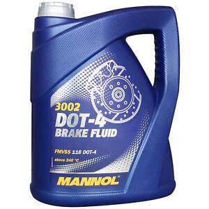 DOT4 Bremsflüssigkeit 5.1kg MANNOL SAE J 1703 Brems Flüssigkeit Universal