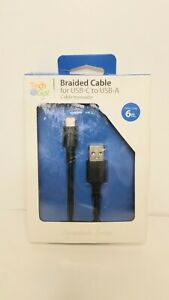 Tech & Go 6 ft. Blk Braided Patch Cable for USB-C to USB-A, Ltd. Lifetime warr.