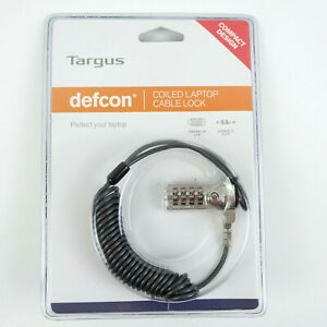 New Targus Laptop DEFCON Combination Coiled Cable Security Lock Anti Theft