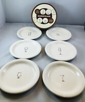 6 pc. MARKETPLACE  Plate  Dish Bread Appetizer 6.5 inch drinks cocktails