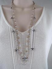 Lucky Brand double strand silver & gold tone beaded~starfish necklace,NWT