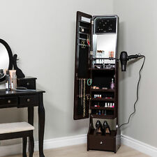 Full Size Length Free Standing LED Mirror Jewelry Armoire Makeup Cabinet Brown