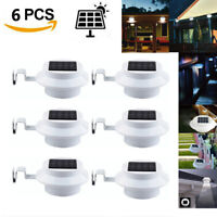 6x 3 LED Solar Powered Gutter Light Outdoor/Garden/Yard/Wall/Fence/Pathway Lamp