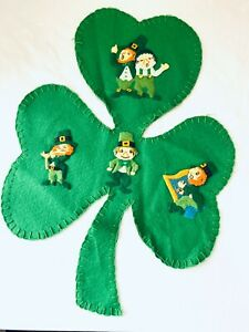 Vintage St. Patrick's Day Leprechaun Shamrock Embroidered Felt Applique Handmade