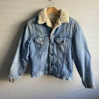 Vintage Levi's Sherpa Denim Jacket 1970s 1980s Fleece Lined Acid Wash Small