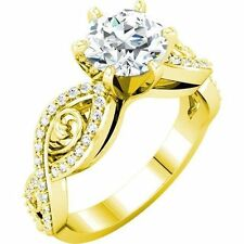 1 carat center Round Diamond Engagement Solitaire 14K Yellow Gold Ring, H-SI2