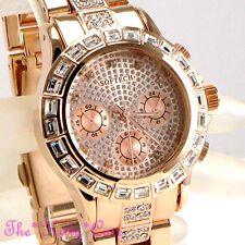 Ladies Rose Gold Baguette Crystals Bling Subdials Statement Bracelet Dress Watch