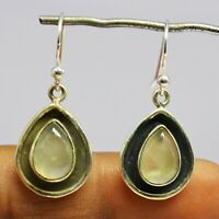 925 Sterling Silver Prehnite Gemstone Earrings 3.93 gms Jewelry CCI