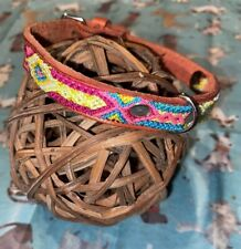 Dog Collar Genuine Leather Small Breed 100% Colorful Silk Thread