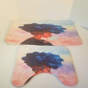 2 Piece, African American Woman, Non Slip, Bathroom Mat with Toilet Mat, Art Set