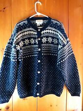 Eddie Bauer Wool Cardigan Women's Sweater Nordic Snowflakes Size L Navy/Ivory