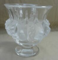 "VINTAGE LALIQUE DAMPIERRE SPARROWS CRYSTAL VASE BOWL SIGNED CLEAR/FROSTED 5"" H"