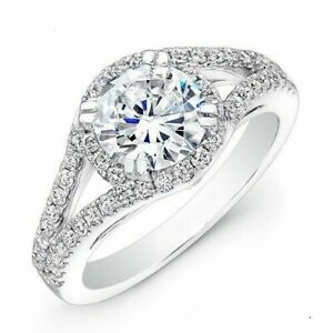 1.34 Ct Round Cut Moissanite Engagement 14K Solid White Gold Rings Size M N J H