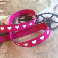 3 meters grosgrain fuchsia ribbon with white hearts 9 mm