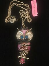 Authentic Betsey Johnson Large Articulated Owl Rhinestone Necklace