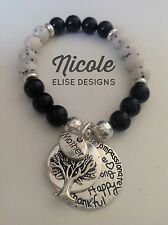 Mother, Tree, Live Laugh Love, Inspirational Message Charm 8mm Agate Bracelet