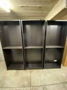 BILLY Bookcase, black-brown 80w X 28d X 202h cm, 3 in total