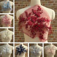 3D Multicolor Flower Pearl Beads Embroidery Bridal Wedding Dress Lace Applique