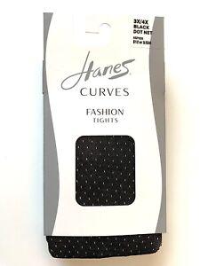 HANES Curves Black Dot Net Tights Size 3X/4X HSP009 Retail $12