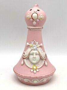 Antique Schafer Vater Bisque Hatpin Holder Art Nouveau. Sweet Pink & Soft White