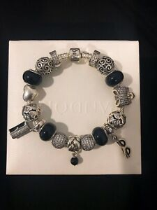 New Authentic Pandora Bracelet and Pandora Charms, w Onyx SS Euro Charms 7.1 in