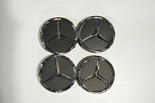 Mercedes Benz Center Caps 4x  MATTE BLACK/Chrome 3 Inch/75mm Fits Most Models
