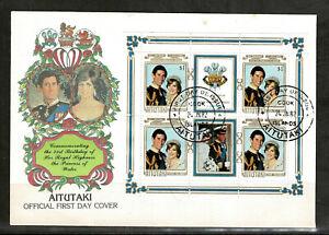 Aitutaki 1982 The 21st Anniversary of the Birth of Diana -  FDC Minisheet- Mint