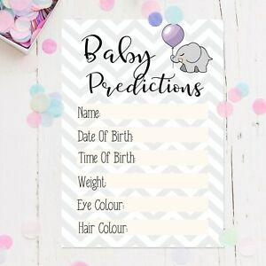 Baby Shower Games Party Prediction Cards Game Keepsakes Boy / Girl / Unisex Mum