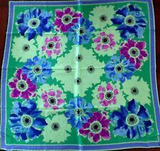 """New Vera Purple Blue Green Floral 100% Silk 34"""" Square Scarf"""